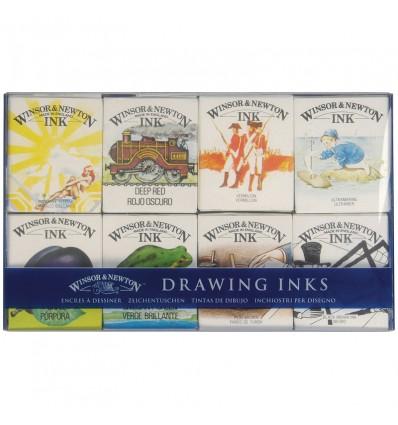 Набор художественной туши Winsor&Newton Drawing Ink для рисования, 8 цв. по 14мл