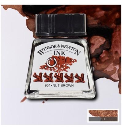 Тушь художественная Winsor&Newton Drawing Ink для рисования с пипеткой, 14мл, Цвет: Орехово-коричневый