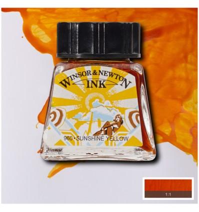 Тушь художественная Winsor&Newton Drawing Ink для рисования с пипеткой, 14мл, Цвет: Солнечно-желтый