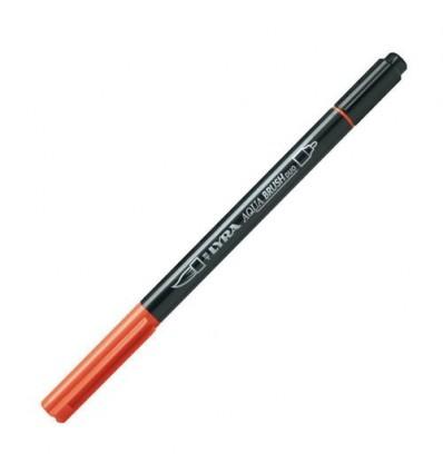 Фломастер цветной акварельный LYRA AQUA BRUSH duo, двухсторонний (кисть и классик), Темно-оранжевый