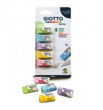 Набор ластиков Giotto Minigomma pastel, пастельных цветов, 5 штук в упак
