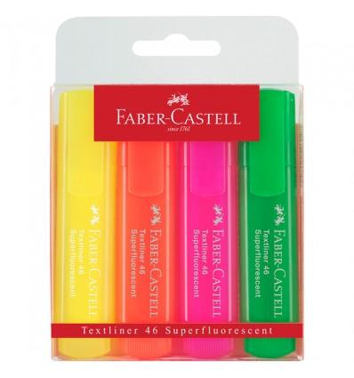 Набор текстовыделителей Faber-Castell 46 Superfluorescent (флуоресцентных), скош. наконеч., 1-5мм, 4 цвета