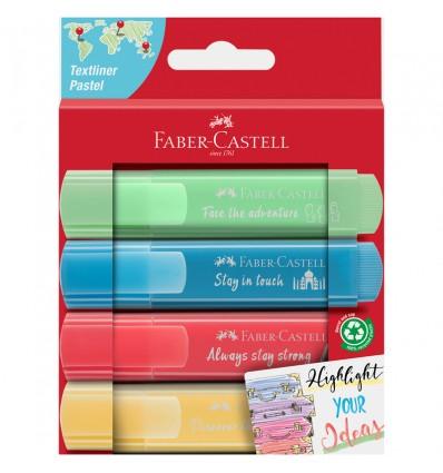 Набор текстовыделителей Faber-Castell 46 Pastel (пастельных), скош. наконеч., 1-5мм, 4 цвета