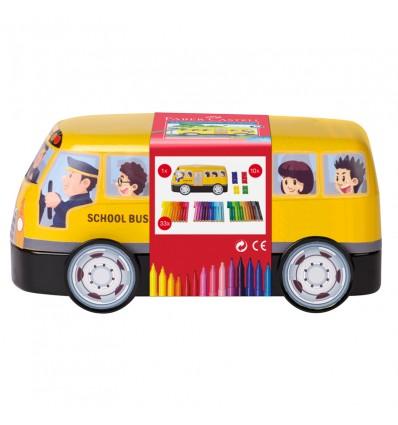 Набор фломастеров с клипом FABER-CASTELL Connector School Bus, 33 цвета, 10 клипов, метал. коробка