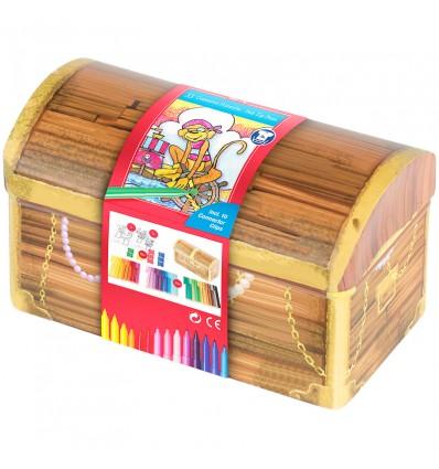 Набор фломастеров с клипом FABER-CASTELL Connector Treasure box, 33 цвета, 10 клипов, 2 раскраски, метал. коробка