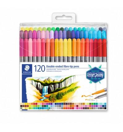 Фломастеры STAEDTLER Design Journey duo, 120 цветов, двусторонние