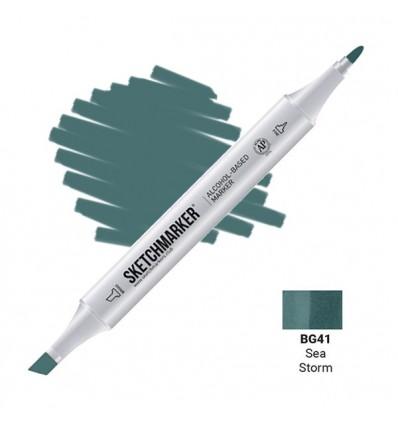 Маркер SKETCHMARKER двухсторонний, 2 пера ( долото и тонкое), Цвет: BG41 Морской шторм (Sea Storm)