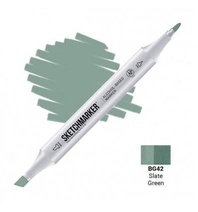 Маркер SKETCHMARKER двухсторонний, 2 пера ( долото и тонкое), Цвет: BG42 Зеленый сланец (Slate Green)