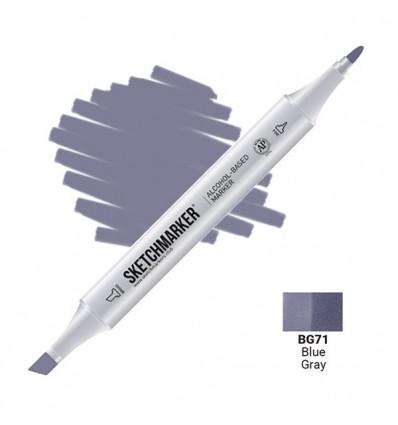 Маркер SKETCHMARKER двухсторонний, 2 пера ( долото и тонкое), Цвет: BG71 Сине серый (Blue Gray)