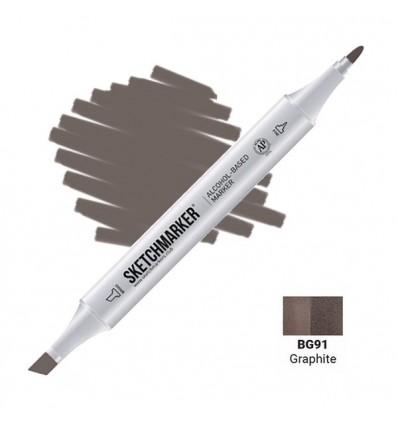 Маркер SKETCHMARKER двухсторонний, 2 пера ( долото и тонкое), Цвет: BG91 Графит (Graphite)