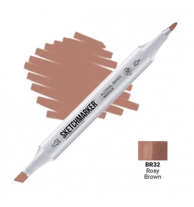 Маркер SKETCHMARKER двухсторонний, 2 пера ( долото и тонкое), Цвет: BR32 Розово-коричневый (Rosy Brown)