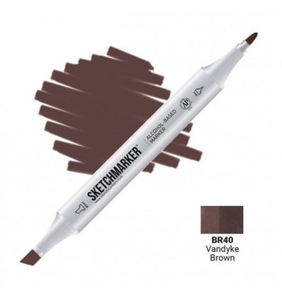 Маркер SKETCHMARKER двухсторонний, 2 пера ( долото и тонкое), Цвет: BR40 Вандайк коричневый (Vandyke Brown)