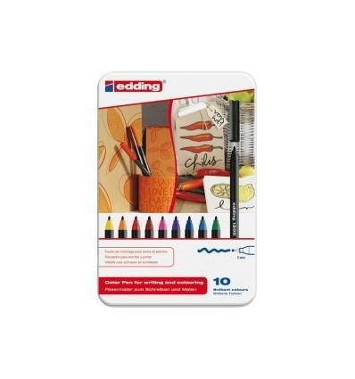 Набор фломастеров Edding 1200, металлическая коробка, 0,5-1мм, 6 цветов маталлик