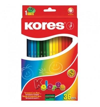 Карандаши цветные шестигранные Kores Kolores, 36 цветов с точилкой