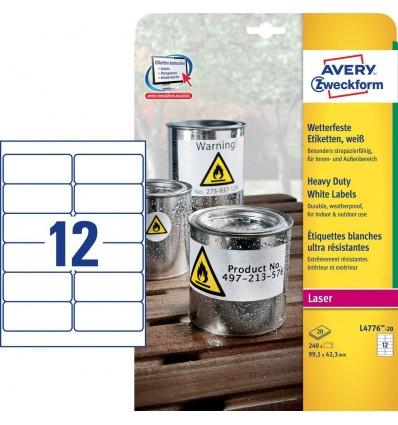 Этикетки погодоустойчивые Avery-Zweckform 99,1x42,3мм, А4, 20 листов, 240 этикеток, белые L4776-20
