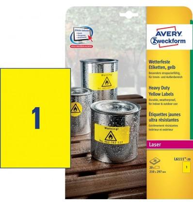 Этикетки погодоустойчивые Avery-Zweckform 210х297мм, А4, 20 листов, 20 этикеток, желтые L6111-20