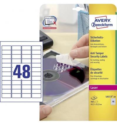 Этикетки-пломбы самоклеящиеся (гарантийные) Avery-Zweckform 45,7x21,2мм, белые, 20 листов, 960 этикеток, L6113-20
