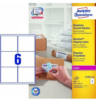 Этикетки адресные белые Blockout, 99,1x93,1мм, Avery Zweckform, 100 листов, 600 этикеток, L7166-100