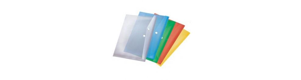 Папки-конверты на кнопке и молнии